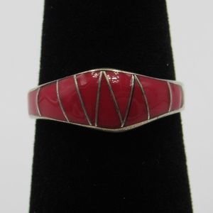 Vintage Size 6 Sterling Rustic Red Inlay Band Ring